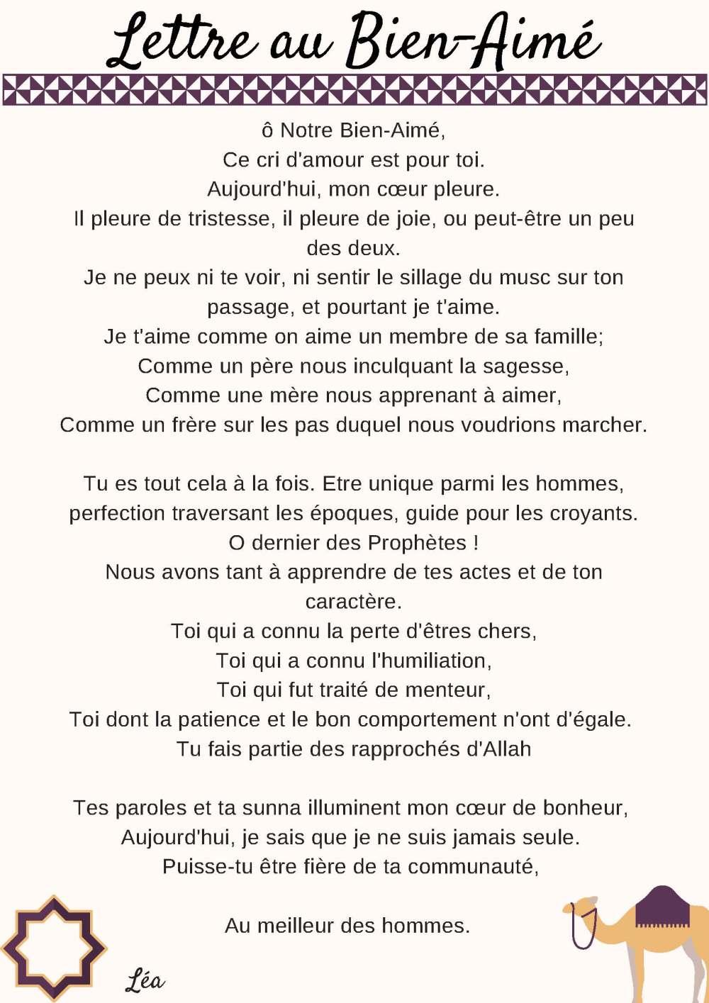 Lettre au Prophète - Léa F